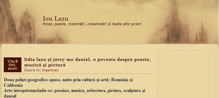 Logo-ul blogului scriitorului Ion Lazu, Bucuresti, Romania